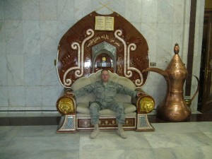 A throne that was once a gift from late Palestinian leader Yasser Arafat to Sadaam Hussein